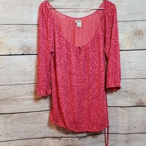 Lucky brand 7W61131 peasant blouse with drawstring